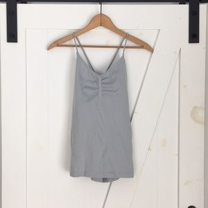 Fabletics Gray ruched front tie lace up back tank